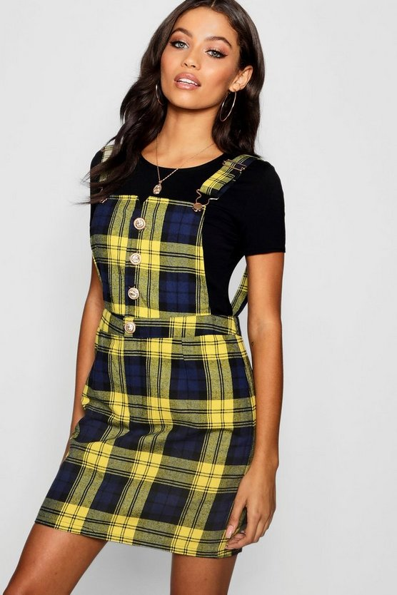 Womens Yellow Button Front Check Mini Pinafore Dress