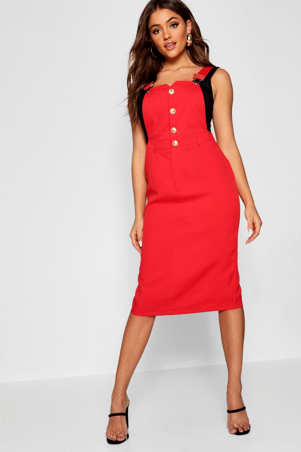 a9ba2ddbbe3 Womens Red Zarah Button Front Midi Pinafore Dress. Hover to zoom