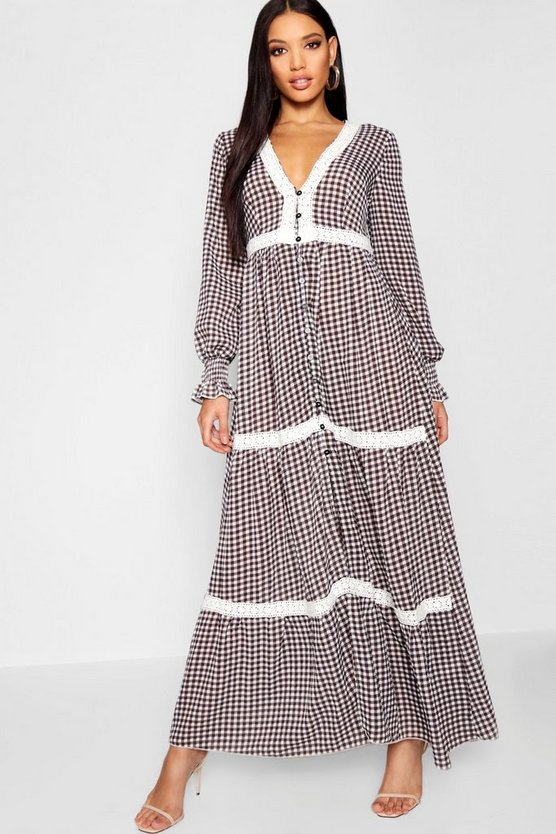 Womens Black Plunge Shirred Sleeve Gingham Maxi Dress