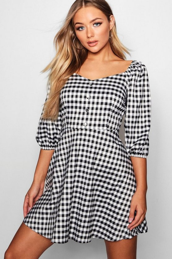 Yasmin Button Front Checked Skater Dress