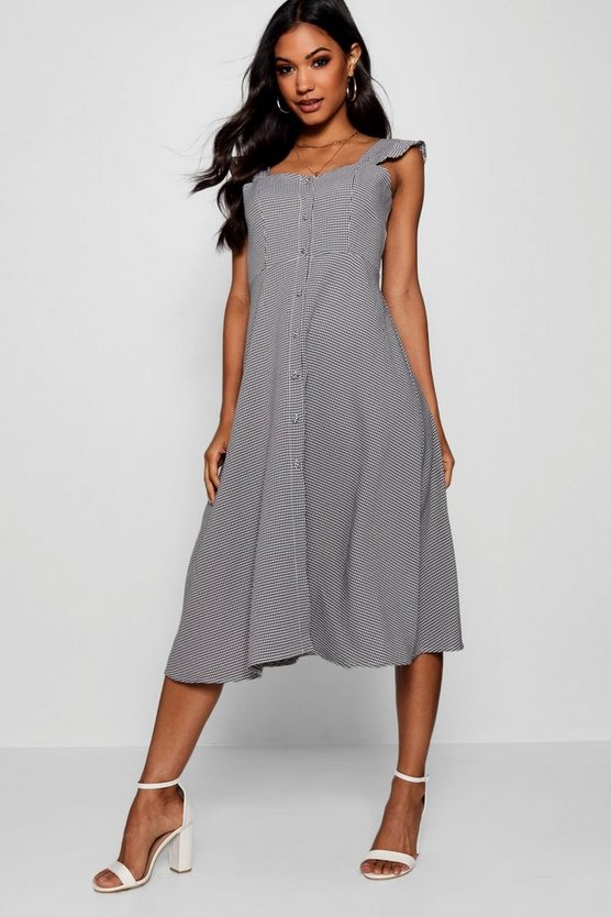 Womens Thania Button Through Check Midi Dress