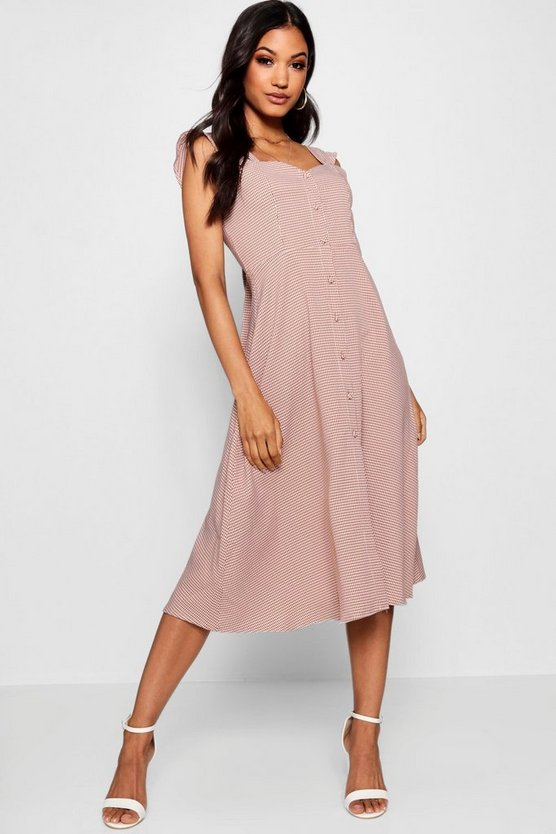 Thania Button Through Check Midi Dress