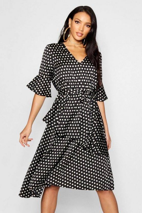 Womens Black Sahara Asymmetric Polka Dot Midi Dress