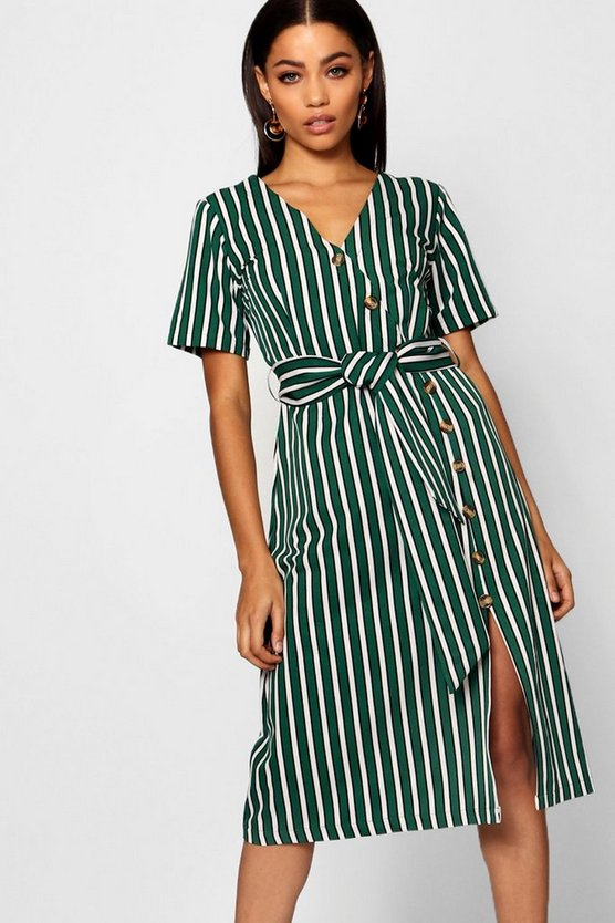 Womens Stripe Short Sleeved Button Midi Dress