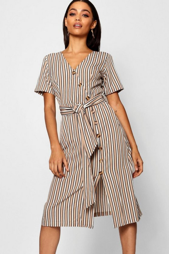 Stripe Short Sleeved Button Midi Dress