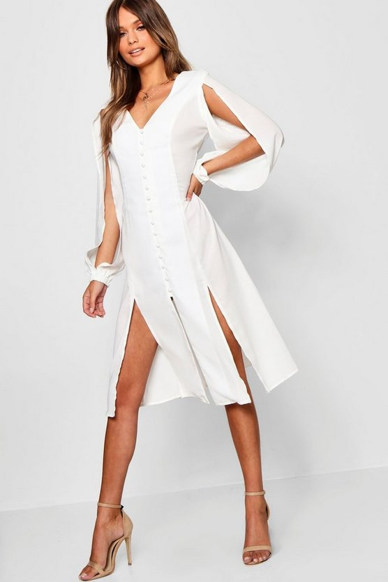 Anissa Split Sleeve Button Through Midi Dress
