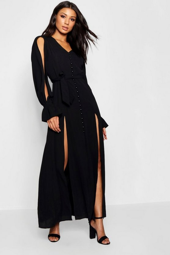 Womens Black Amani Button Front Split Sleeve Maxi Dress