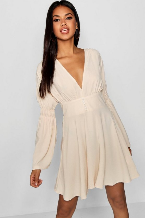 Womens Ivory Aliza Blouson Flared Sleeve Skater Dress