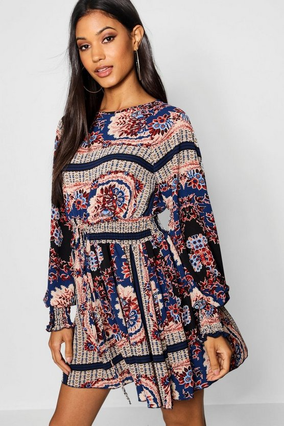 Kat Shirred Waist Bohemian Skater Dress