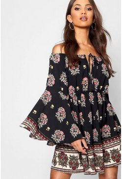 Womens Black Zoe Border Print Off The Shoulder Skater Dress