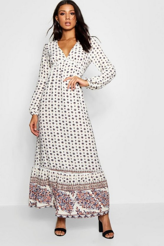 Ella Boarder Print Ruffle Hem Maxi Dress