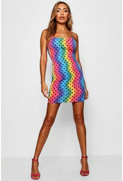 Womens Pink Rainbow Polka Dot Square Neck Bodycon Dress