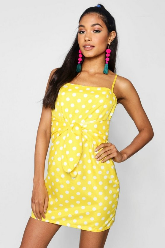 Womens Yellow Sophie Bright Polka Dot Tie Front Mini Dress