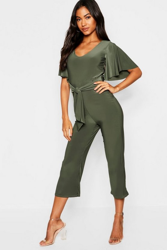 Womens Khaki Angel Sleeve Tie Waist Culotte Jumpsuit