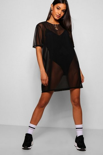 Womens Black Oversized Mesh T-Shirt Dress