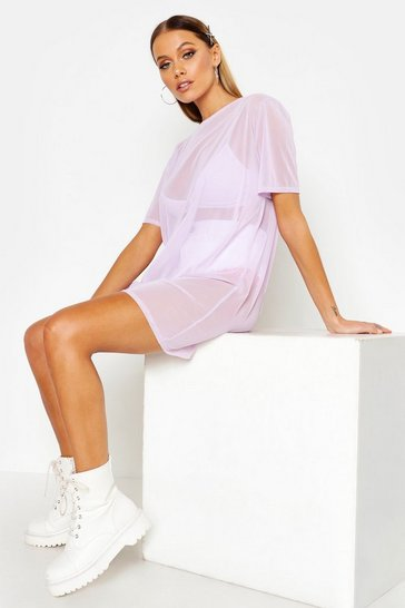 Womens Lilac Oversized Mesh T-Shirt Dress
