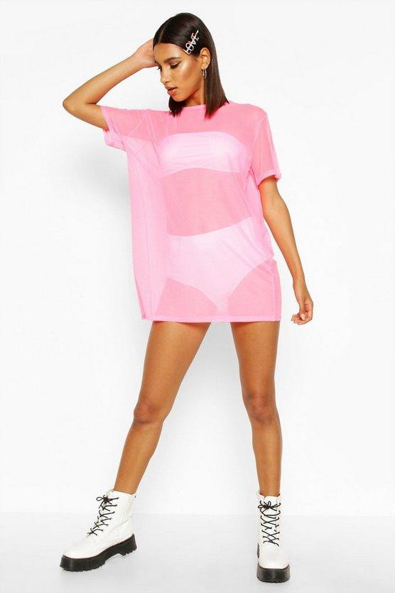 Oversized Mesh T-Shirt Dress