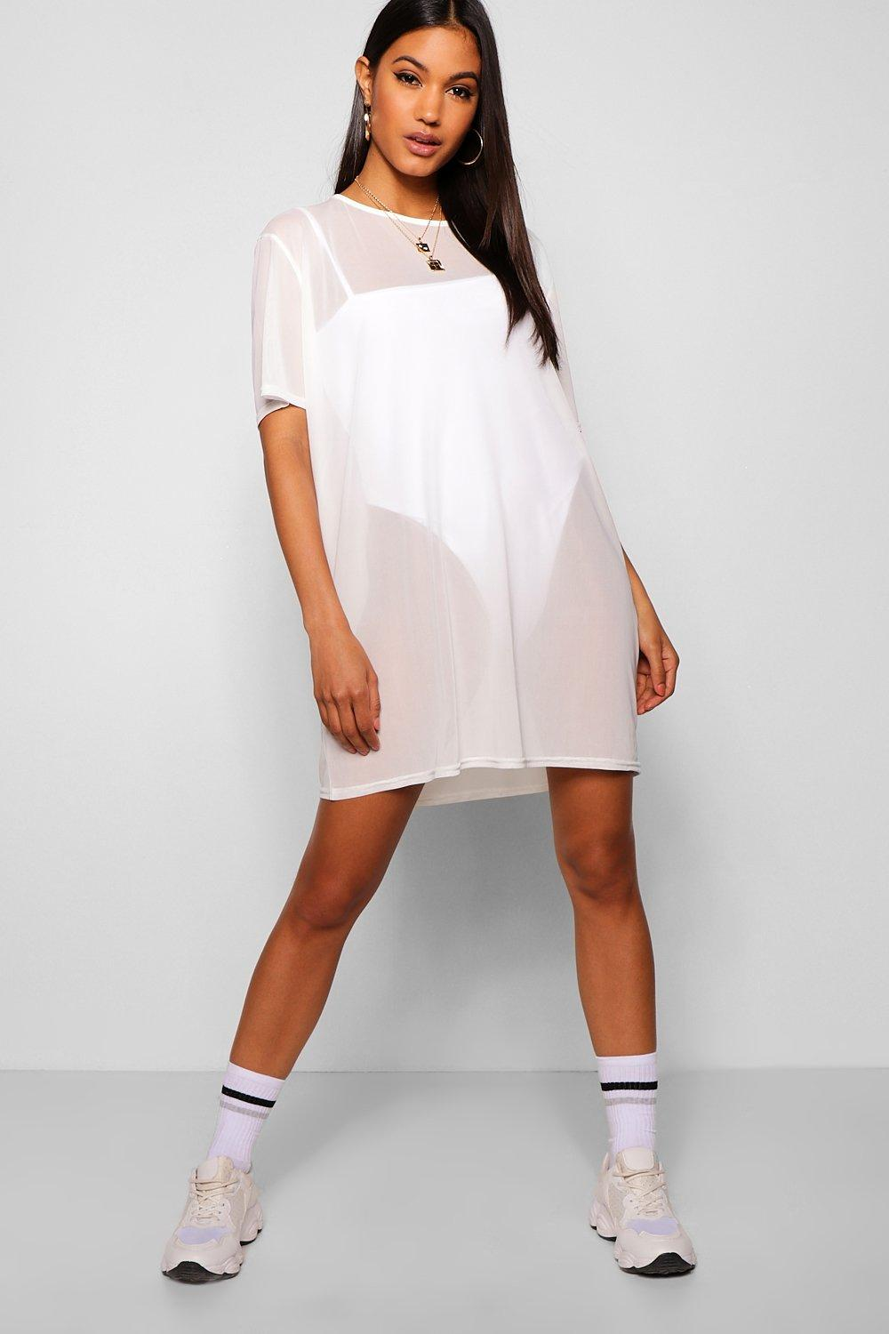 online for sale diversified latest designs limpid in sight Oversized Mesh T-Shirt Dress | Boohoo