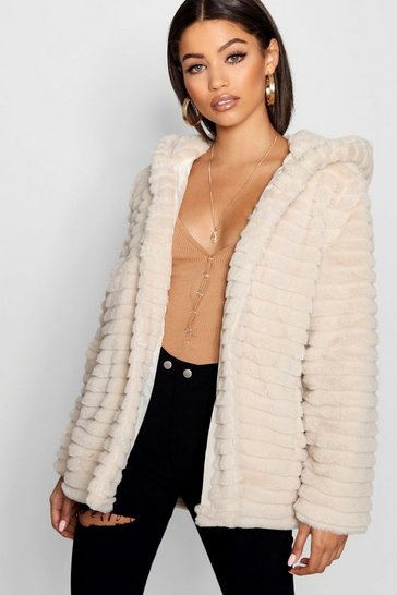 Womens Cream Hooded Faux Fur Coat