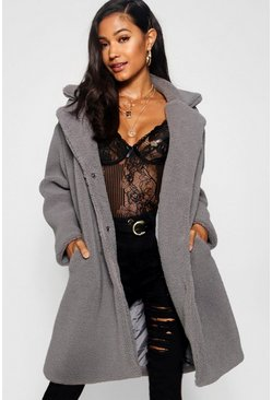 Grey Teddy Faux Fur Coat