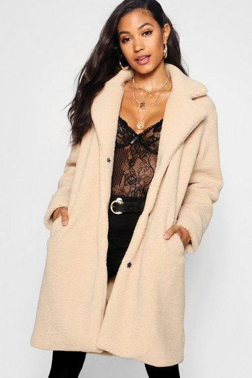 Stone Teddy Faux Fur Coat