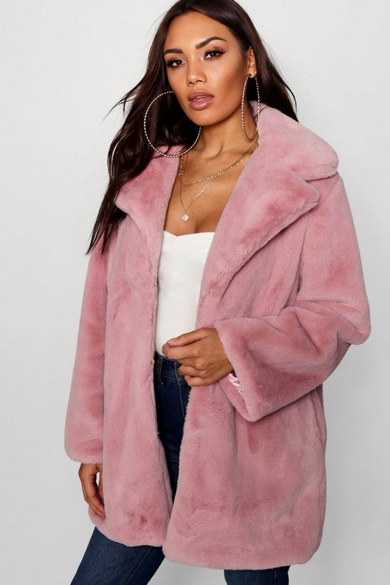 Revere Collar Faux Fur Coat, Dusky pink, Donna