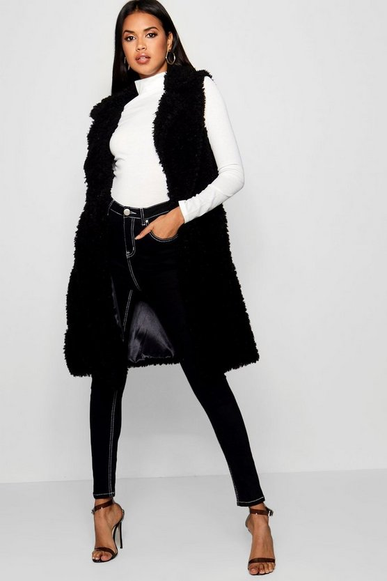 Womens Black Shaggy Faux Fur Gilet