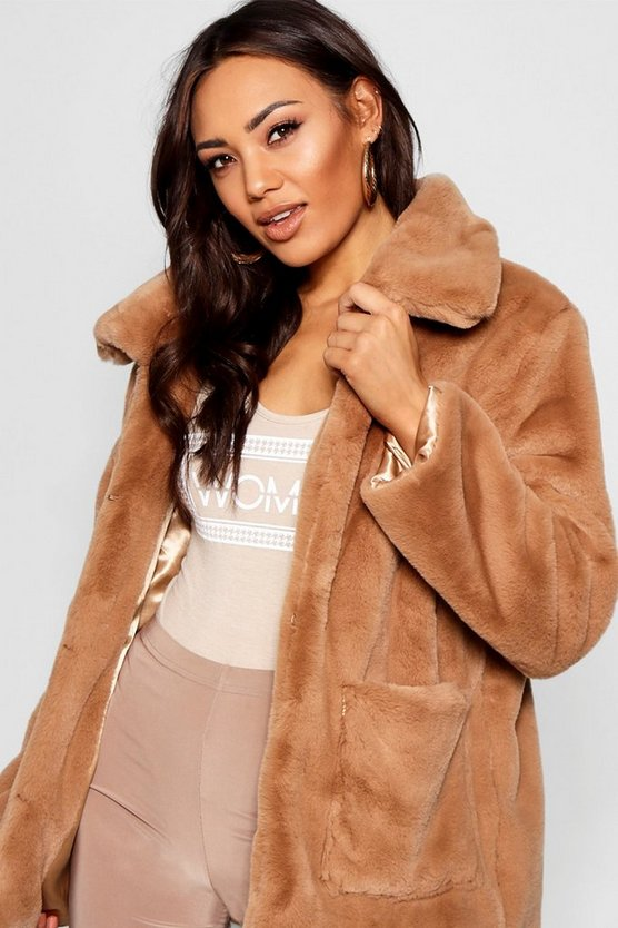 Womens Mocha Super Soft Faux Fur Coat