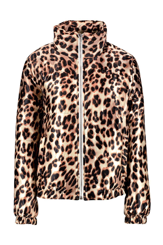 leopardo marrón Chaqueta estampado satén de con de xxzBaTX