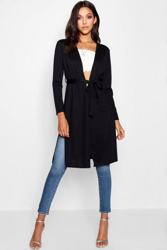 Womens Black Belted Collarless Kimono