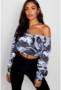 Womens Grey Camo Cropped Sweatshirt