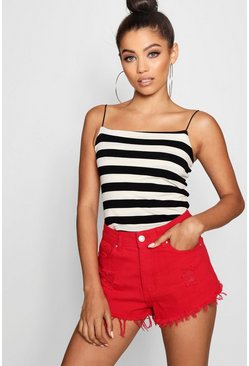 Womens Blackwhite Stripe Square Neck Cami