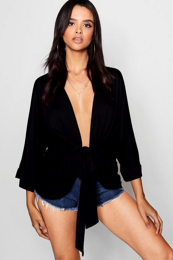 Womens Black Plunge Wrap Belted Kimono Top