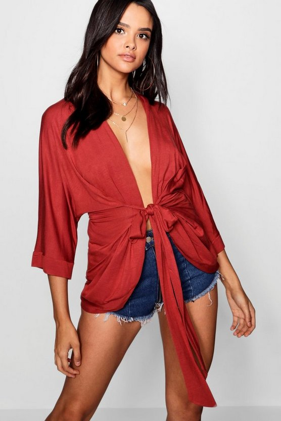 Plunge Wrap Belted Kimono Top
