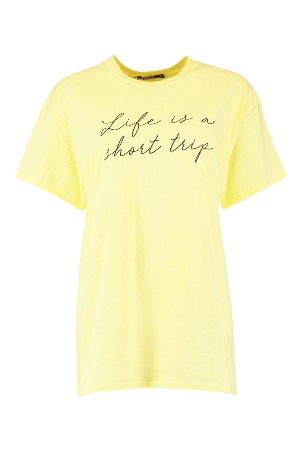 Slogan Is yellow Shirt a Short Life T Trip PqICnwd