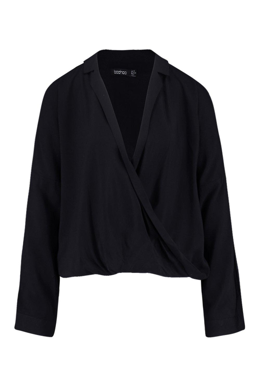Camisa cruzado solapa negro con por cuello delante de rwqrOI