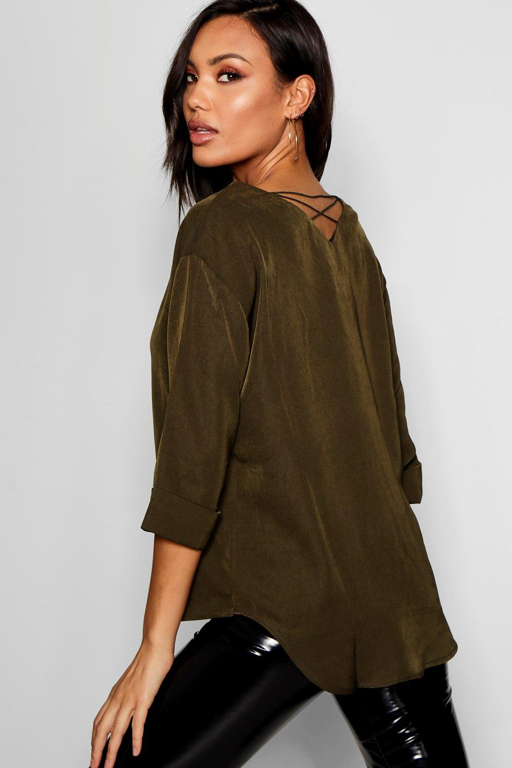 5c4e9b755f241 Amelia Strappy Back V Front Woven Top. Hover to zoom