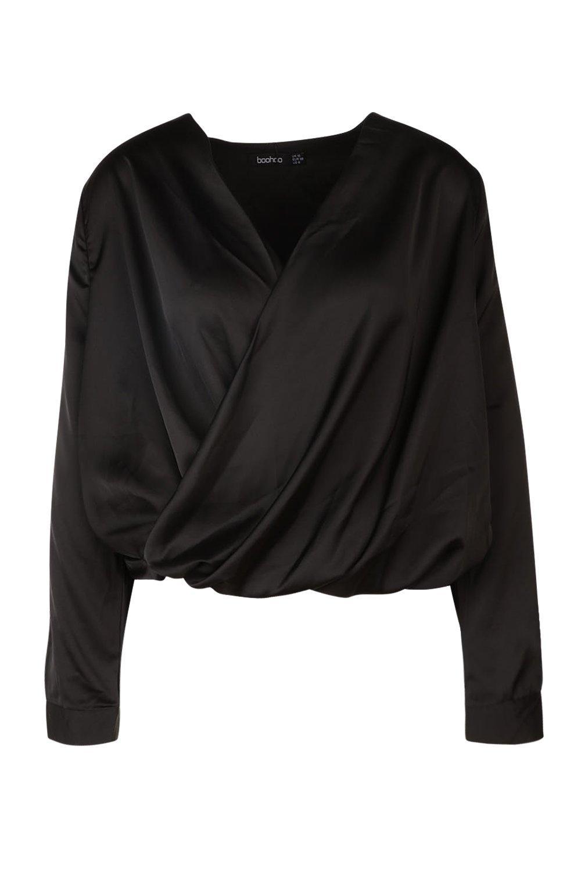 Blusa negro de delantero cruzado satén con RwqpxvBR