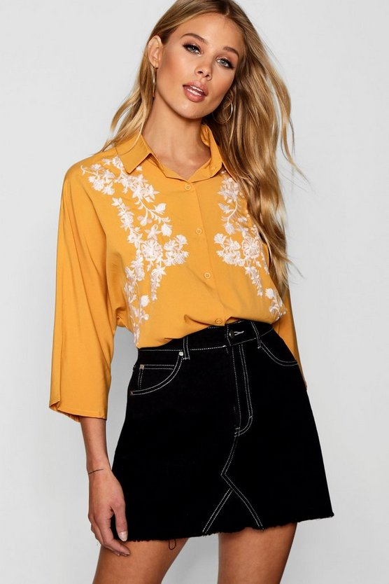 Jayne Embroidered Contrast Shirt