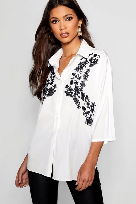 Womens White Jayne Embroidered Contrast Shirt