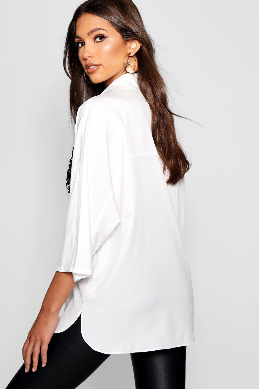 Jayne Camisa y en blanco bordados contraste 4xx0nr8