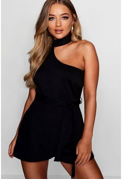 Womens Black Chessie Choker Detail Asymmetric Playsuit