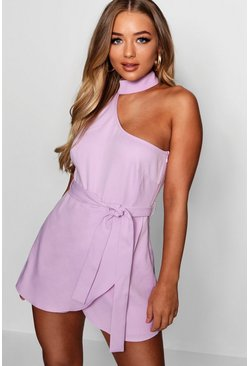 Womens Lilac Chessie Choker Detail Asymmetric Playsuit