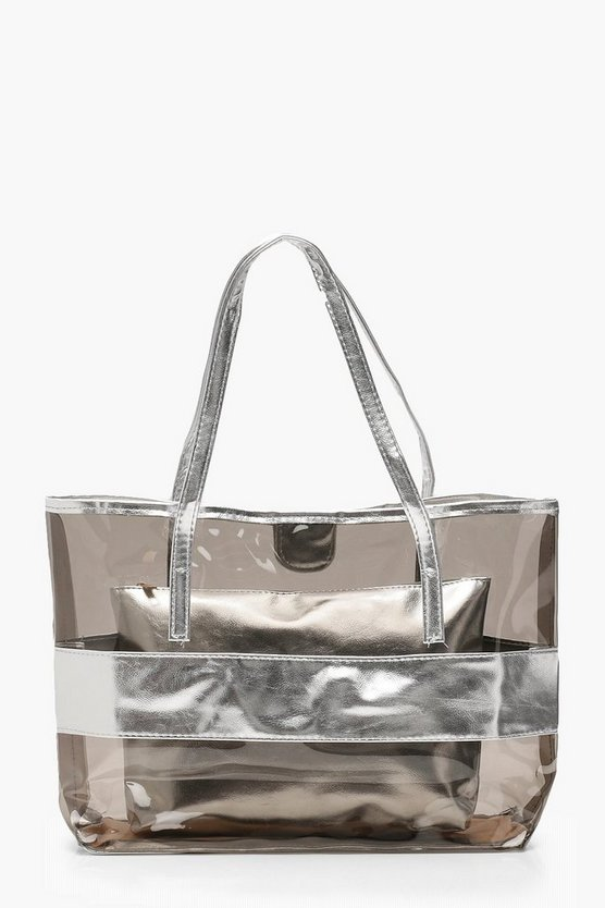 Clear Metallic Shopper With Insert