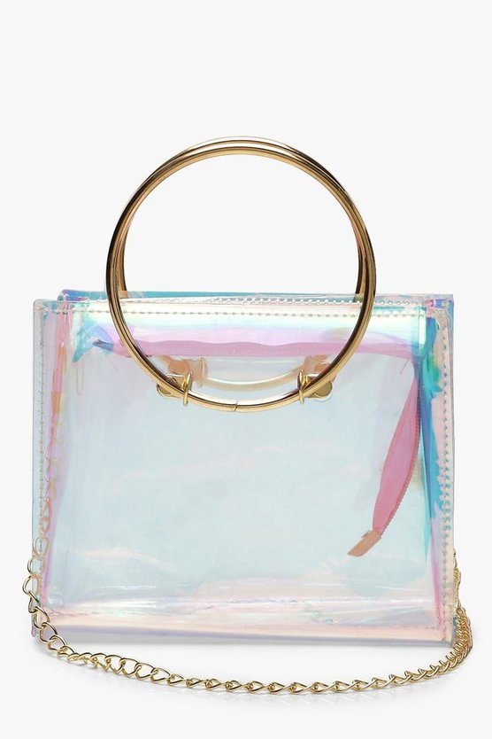 Metal Handle Clear Crossbody