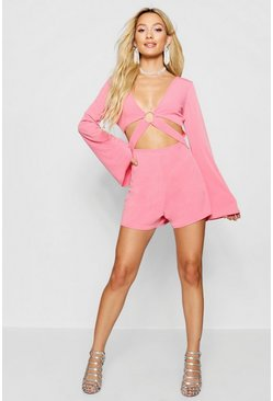 Womens Coral Cut Front Ring Detail Playsuit
