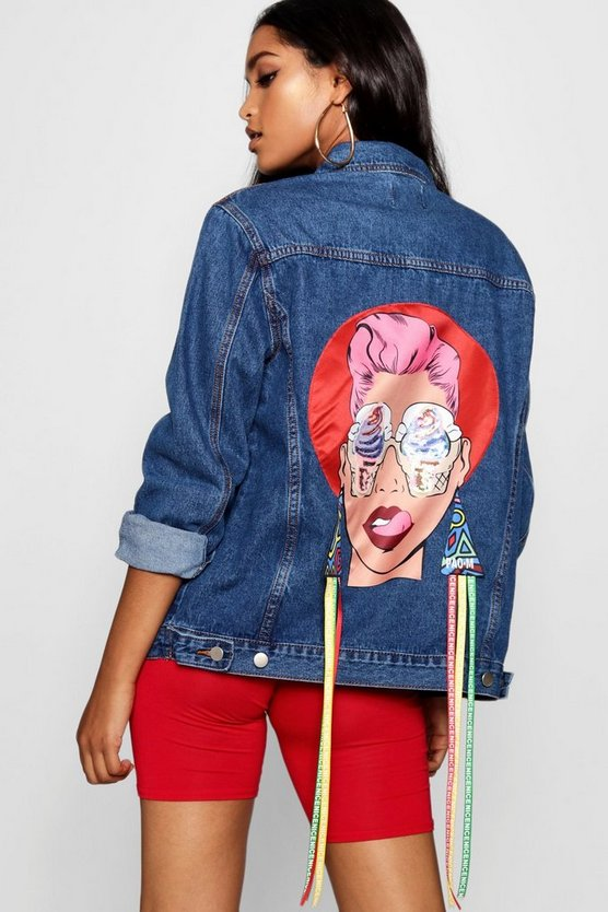 Face Motif Denim Jacket