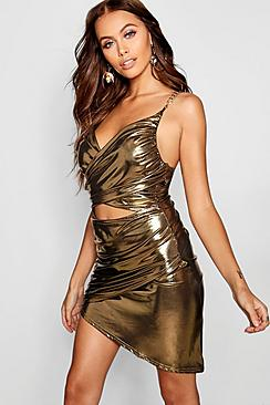 50 Vintage Inspired Clothing Stores Paris Hilton Metallic Cut Front Chain Detail Dress $44.00 AT vintagedancer.com