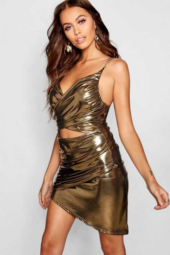 Metallic Cut Front Chain Detail Dress