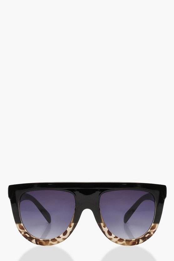 Black Leopard Oversized Flat Top Sunglasses